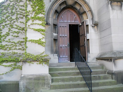 church door with ivy on it from trinity cathedral cleveland ohio usa