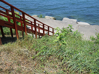 view looking downward wooden steps toward the lake and rocks at the shore of lake erie in northern ohio usa