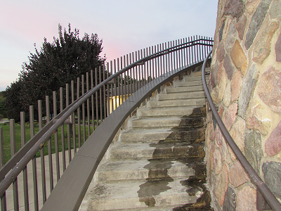 steps going upward in a spiral to the shrine of the blessed mother mary, southern ohio