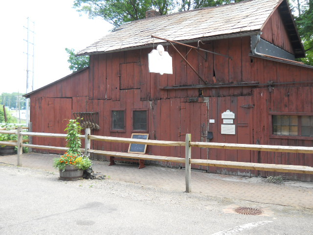 red wooden building