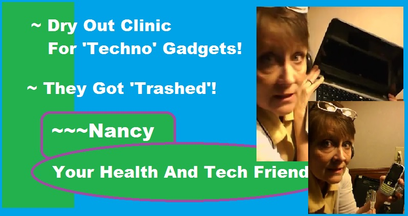 nancy gurish holding up a laptop and a cell phone saying they drank coffee and olive oil and need to detox